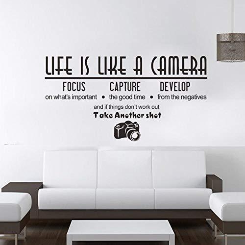 Das Leben Ist Wie Eine Kamera Wandaufkleber Kreatives Zitat Vinyl Aufkleber Raumdekoration Wand Sätze Aufkleber Wohnkultur 55X105 Cm - Das Leben Ist Kamera Eine Wie