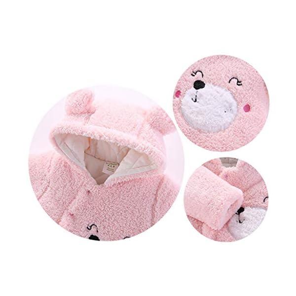 Bebé Mono Invierno Mameluco Vellón Body Recién nacido Peleles Traje de Nieve Pijamas Espesar Traje de Dormir, 0-3 Meses 3
