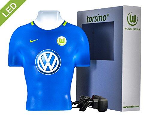 Wölfe Home Trikot (VfL Wolfsburg 3D torsino® LED Lampe (Auswärts 2017/18)- Das besondere Geschenk für Fußballfans! Fanartikel für Frauen, Kinder & Männer - Kinderzimmerlampe, Nachtlicht, Wandlampe)