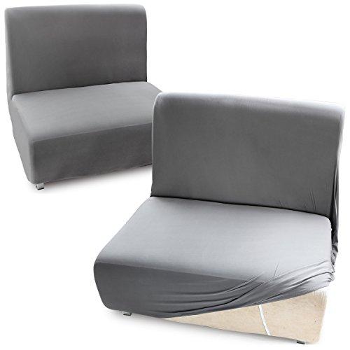 CLE DE TOUS - Fundas para sofás Cama Clic-Clac Brazos de madera Funda de Sofá Elástica Ajustable (1 plaza, Gris)