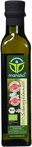 manako BIO - Schwarzkümmelöl human, kaltgepresst, 100 {d6ca91c8346db4df719b1f5a2961606d813c33a6d531d096e11c740eb262c1e4} rein, 2 x 250 ml Glasflasche (2 x 0,25 l)