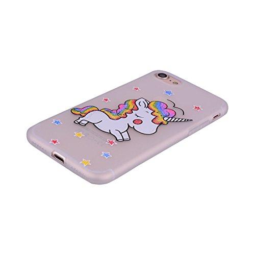 iPhone 7 Copertura,Modello variopinto di Bling del fumetto sveglio creativo Custodia protettiva della pelle in gomma sottile TPU Case per iPhone 7 4.7inch,Stelle Unicorn # 1