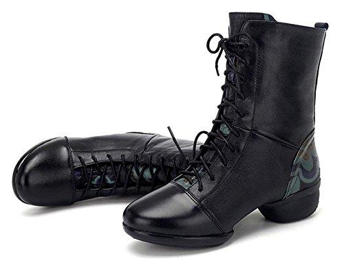 SHIXR Chaussures de danse de dames Chaussures de danse de peau de vent national Chaussures de danse carrées Chaussures de dames de haute pour aider les chaussures de danse modernes noir