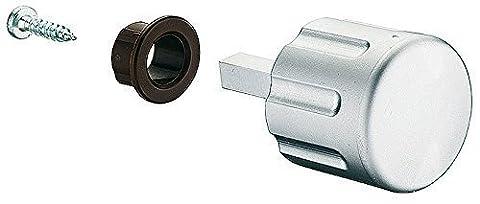 GedoTec® Drehknopf Caravan Wohnmobil für Push-Lock Aufschraubschlösser | Möbelschloss Drehknauf mit Vierkantstift Länge 28 mm | Kunststoff Chrom matt | Markenqualität für Ihren Wohnbereich