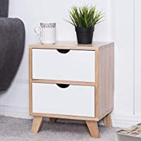 COSTWAY Bedside Side with 2 Drawers, 4 Removable Legs, Wooden Nightstand Cabinet for Living Room Bedroom Home