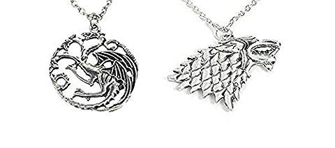 Paire de colliers et pendentifs en métal. Série télévisée GAME