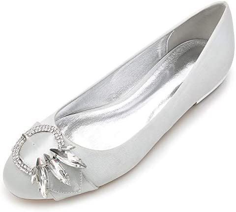 Elobaby Zapatos De Boda De Mujer Pajarita Redonda SatéN Nupcial Tarde BáSico CaíDa Gatito / 1.5cm TalóN