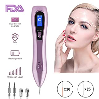Skin Tags Remover, OKEEY Skin Tag Removal with 9 Strength Levels, LCD Display Spot Mole Remover for Tattoo Warts Nevus Dark Spots Freckles - USB Rechargeable and Replaceable Needles