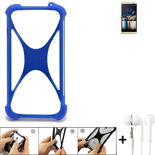 K-S-Trade Bumper für Switel Champ S5003D Schutzhülle Handyhülle Silikon Schutz Hülle Cover Case Silikoncase Silikonbumper TPU Softcase Smartphone, Blau (1x), Headphones