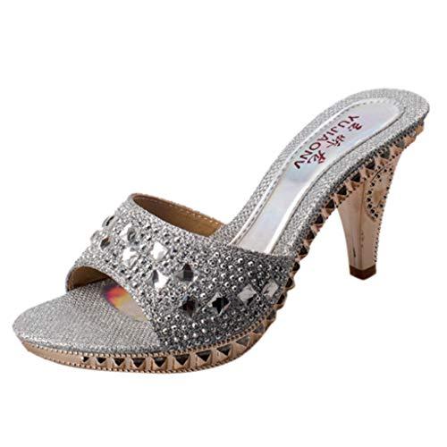Vovotrade ☸ Sandali Casual da Donna con Strass Ciabatte da Festa di Moda con Tacchi Alti Rivetto di Cristallo Pesce Bocca Scarpe