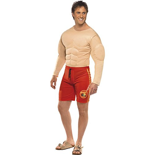 Adult Men's Baywatch Lifeguard Costume with Muscle Chest and Attached Shorts for Baywatch Fancy Dress
