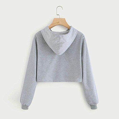 LILICAT Vêtements Femmes Mignon mode Lâche Gris Chat Empreinte Empiècement Court Hoodies Tops Blouses Sweatshirts S-XL gray
