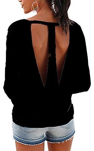 Angashion V Ausschnitt Oberteile Damen Hoodie mit Daumenloch loch Ärmeln Tief Herbst Shirt Bluse Top Schwarz