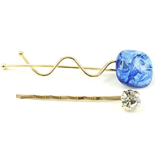 rougecaramel - Accessoires cheveux - Mini pince fantaisie métal doré lot de 2pcs - bleu