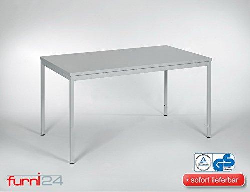 Furni 24 Beistelltisch Bürotsich Esstisch Konferenztisch Mehrzwecktisch Besuchertisch PC Tisch Schreibtisch 140 cm x 80 cm x 75 cm grau Verschiedene Ausfühungen Simple Montage