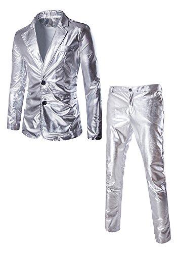 DOOXIUNDI männer - slim fit metallic - farbe performance - anzug (XL, silber) (Solide Französisch-manschette)