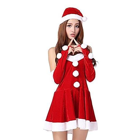 West See Damen Kleid Kostüm Weihnachtskleid mit Hut Rot Handschuhe Weihnachtsfrau für Weihnachtsfeier oder Party (Rot)
