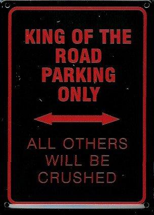 Frecce Parcheggio Biker Mini della targa in metallo Metallo cartolina-King Of The Road Parking-8x 11cm rimpianto segno Retro Segno Metal Tin Sign