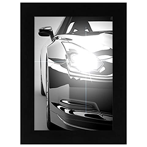 A5 (14.8x21cm) Black Wood Picture Frame with Glass Front - Made to Display Pictures A5 - Hanging Hardware Included