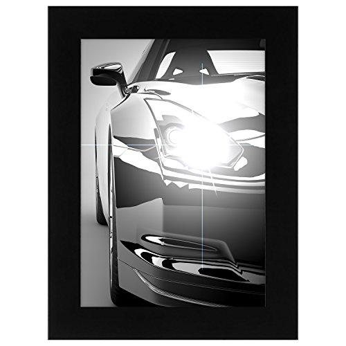 A5 (14.8x21 cm) Cadre Photo Noir Bois avec Vitre de Verre - Conçu pour Encadrer Photos 14.8x21 cm - Matériel d'Accrochage Inclus