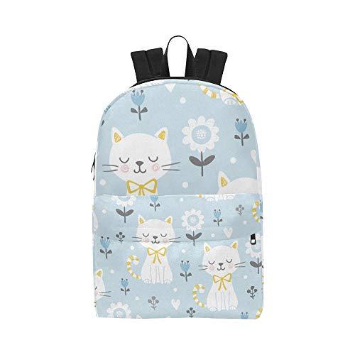 Faule glückliche Katze mit Band Klassische Nette Wasserdichte Laptop Daypack Taschen Schule College Kausal Rucksäcke Rucksäcke Bookbag für Kinder, Frauen und Männer Reisen mit Reißverschluss
