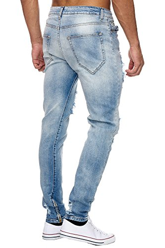 2042 Defence Herren destroyed Jeans mit Stretch Hellblau