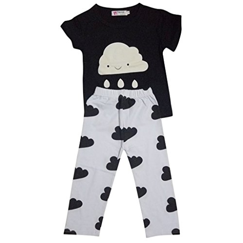 2pcs Neugeborene Mädchen-Kleidung-Baby-Kleinkind-T-Shirt Top + Kurze Hose Outfit Satz 100 - wie bild, 100cm Neugeborene Mädchen Kurze Sätze