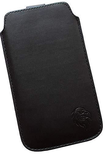 Schutz-Tasche passend fuer Samsung Galaxy Note 2, 3 und 4, Pull tab Huelle fuer Handy herausziehbar, Etui genaeht mit Rausziehband, duennes Etui mit exklusivem Motiv Adler XL Schwarz - Case Leather Note 3 Galaxy Wallet