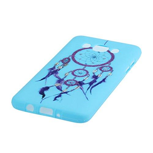 Voguecase® für Apple iPhone SE 5 5S 5G hülle, Schutzhülle / Case / Cover / Hülle / TPU Gel Skin (Gelb/Lila Traumfänger) + Gratis Universal Eingabestift Blau/Lila Traumfänger