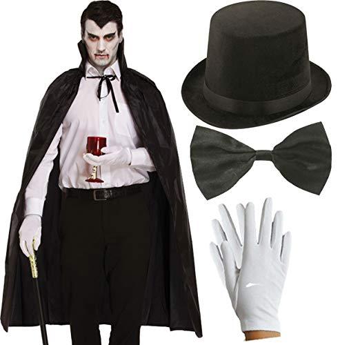 Kostüm Lincoln Top Hut - labreeze Erwachsene schwarzes Cape Lincoln Top Hut Fliege Handschuhe Halloween Vampir Kostüm