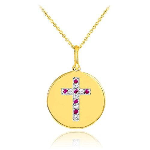 14 quilates 585/1000 Oro Cruz y Diamante Disco Rubí Colgante Collar
