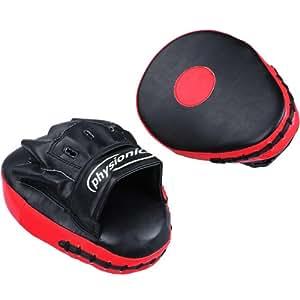 Physionics Handpratzen Schlagpolster (gekrümmt) in schwarz/rot Boxen Pads Kampfsport Schlagpolster Kickboxen