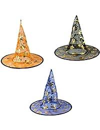 Zoylink 3 Piezas Sombrero De Bruja Sombrero De Halloween Sombrero De Cosplay De Gasa De Capa