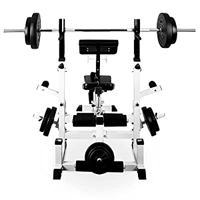 Klarfit FIT-KS0 Home Gym Weight Bench Upper & Lower Body Workout Machine (280kg Max Load & 6 Stage Adjustable Padded Backrest) - Black / White from TNP Accessories
