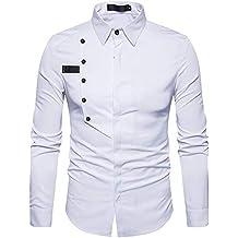 Blusa de Hombre by BaZhaHei, Algodón Formal de Manga Larga de algodón Casual de otoño de los Hombres del Tops de Camisetas para Hombre Cómodo y Transpirable ...
