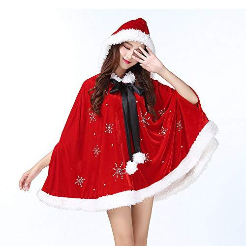 Erwachsene Hoodie Santa Kostüm Für - SKRCOOL Santa Outfits Mantel Cosplay Party Kostüm Erwachsene Weihnachten Cape Cloak Red Hoodie,Red