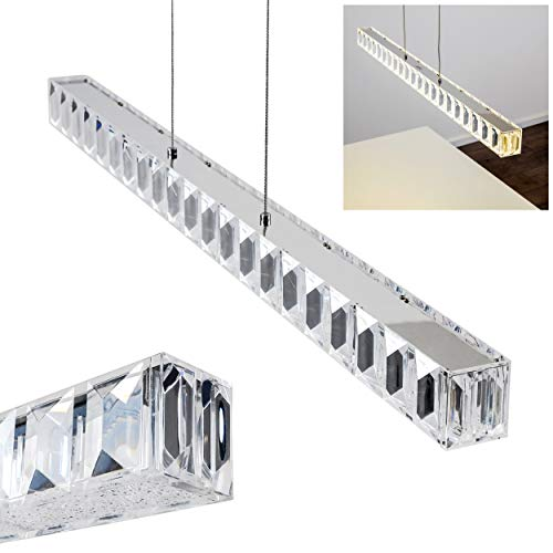 Colgante LED Derio metal cromado - Colgante alargado para comedor - Salón - Dormitorio