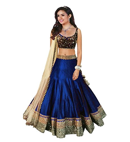 Muta Fashions Banglory Cotton Green Women Lehenga ( LEHENGA56_Blue )