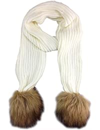 New style ribbed knitted fur pom scarf White