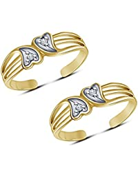 Araska Diamond 0.02 Ct Round White CZ Women's Adjustable Toe Ring 14K Yellow Gold Finish