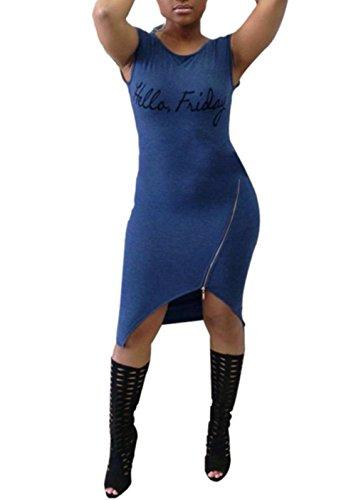 Blansdi Damen Mädchen Frauen Sommer beiläufig Sexy Rundhals Schlank irregulär Zipper Kleid Minikleid Cocktail Clubwear Bandage Bodycon Blau