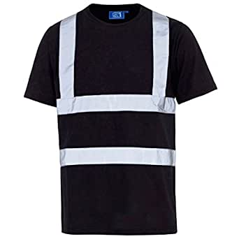 Men 39 s hi vis short sleeve safety work crew neck t shirt for Hi vis shirts with reflective tape