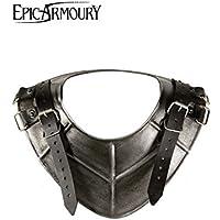 Anillo Cuello Dark Drake de placa de acero para el hombro LARP Medieval Combate de exhibición Vikingo, distintos tamaños, negro, large