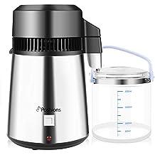 Poshions Destilador de Agua 4L Dispositivo de Purificación de Agua de Acero Inoxidable 304 con Botella