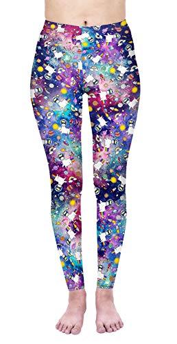 Leggings Damen Sport Print Yoga Hosen Strumpfhose Workout Fitness Running Joggen Pants One Size (Style-10)