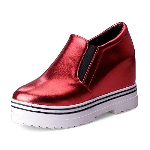 VogueZone009 Femme Rond à Talon Haut Tire Couleur Unie Chaussures Légeres Rouge
