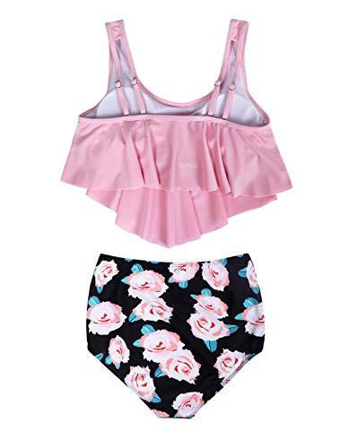 MetCuento Damen-Badeanzug Tankini, zweiteilig, gerüschter Racerback, hohe Taille, schulterfrei, Bauchkontrolle, Bikini-Set - Pink - Medium (38-40) - 5