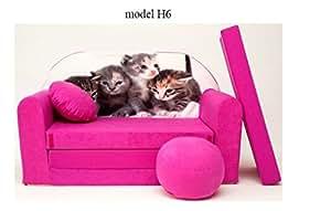 Sofa enfant 2 places se transforme en un canapé-lit