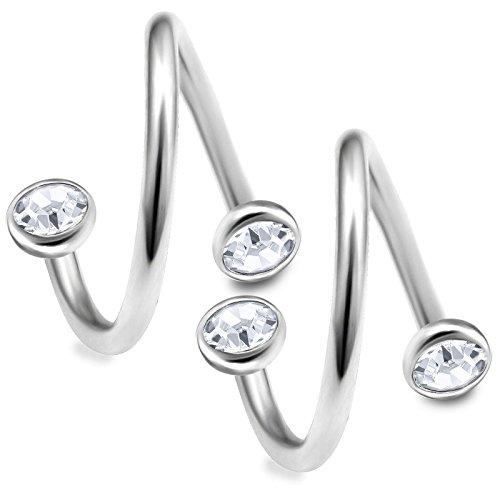 2 Stück lippenpiercing spirale Kristall halbkugel 1,2 10mm spiralen edelstahl ohr cartilage piercing augenbrauenpiercing schmuck tragus helix AXAW - CL