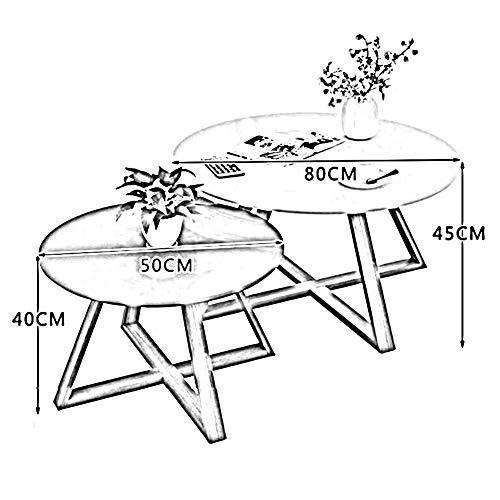 Tables CJC Set de 2 Café Rond Côté Thé Fin Les Moderne Occasionnel Nidification Balcon Vivant Pièce (Couleur : White 50 * 40cm+Gray 80 * 45cm)